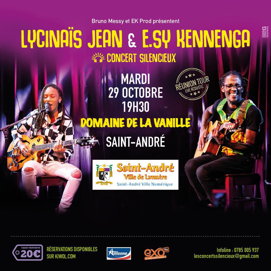 LYCINAÏS JEAN & E.SY KENNENGA -En DUO - Concert Live Acoustique - (Silencieux) – a SAINT-ANDRE à La R